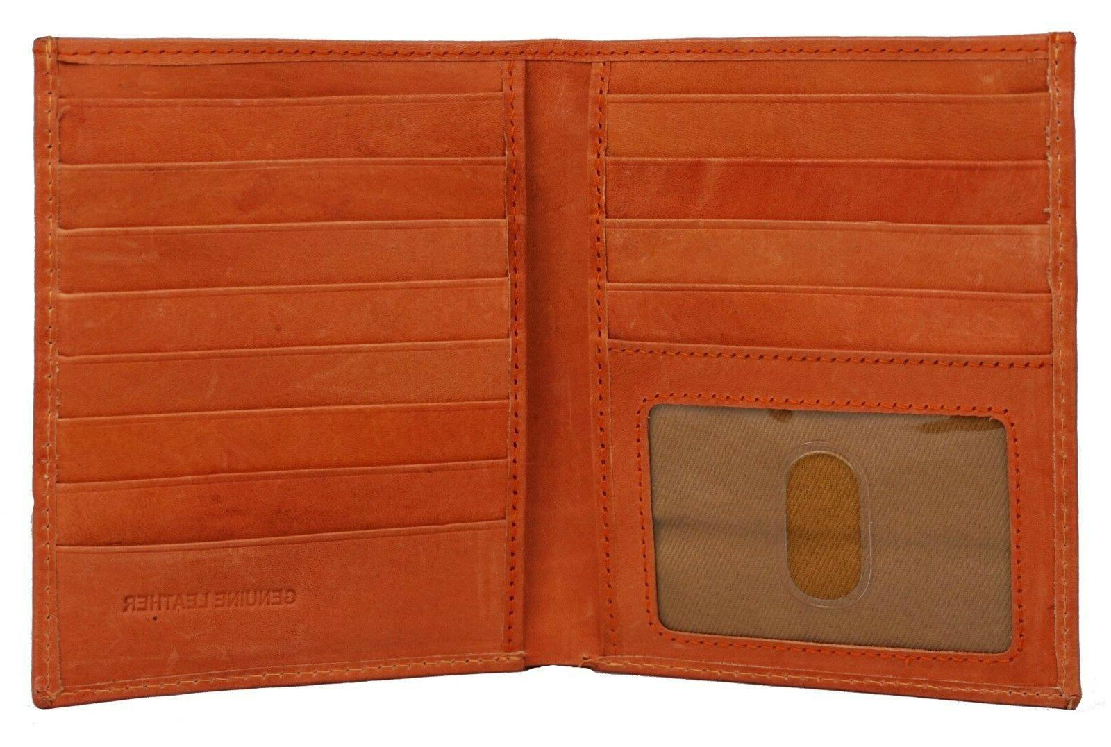 Men's Leather Bifold Wallet Hipster Credit ID Tan