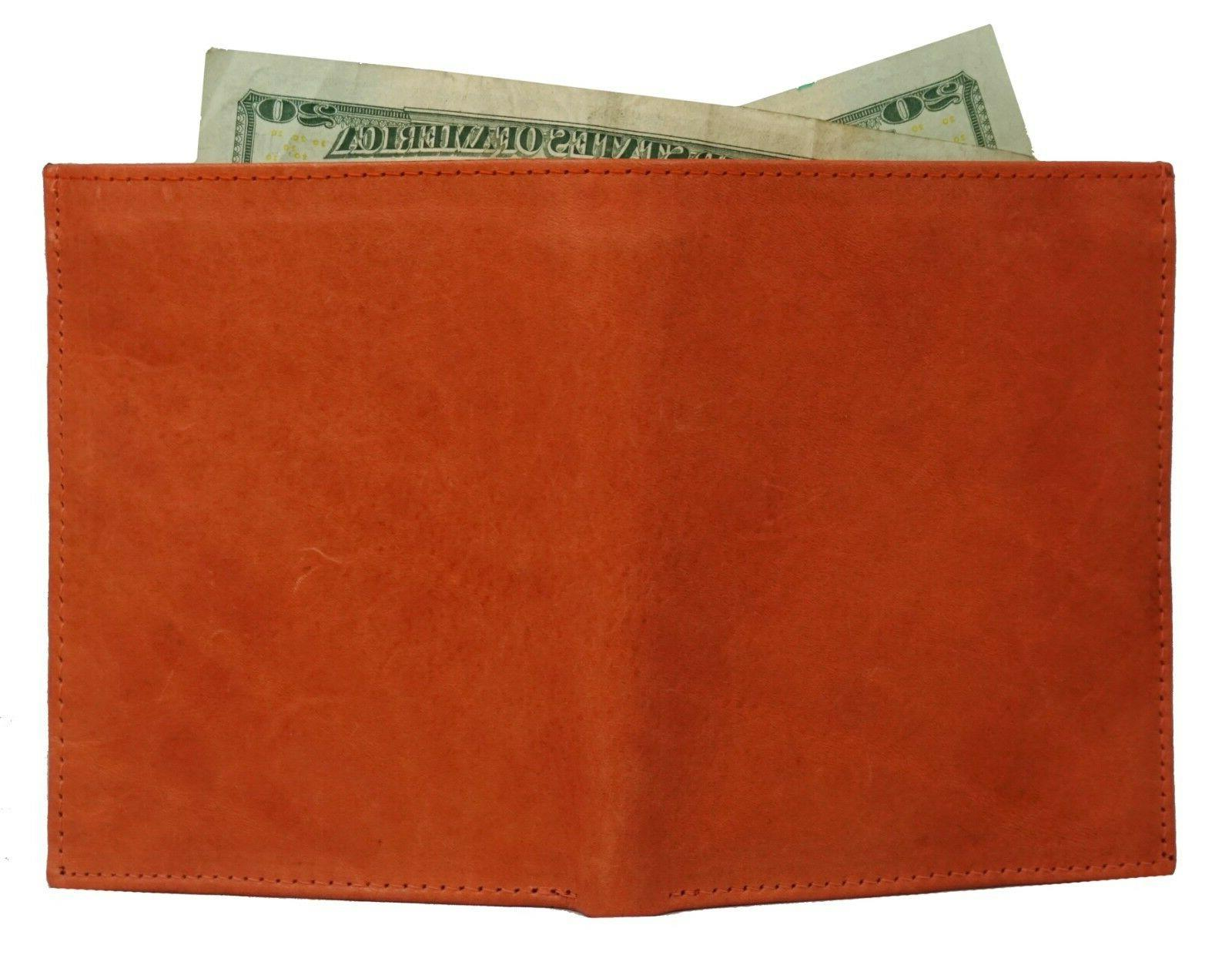 Men's Genuine Leather Bifold Wallet Slim Hipster Credit Card and Tan