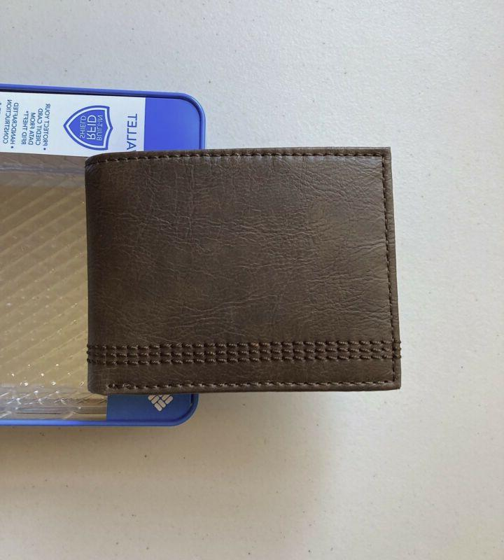 Columbia Men's Leather RFID Extra Capacity Slimfold Wallet Brown