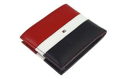 Tommy Leather Wallet Red Navy