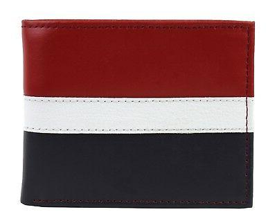 Tommy Wallet Passcase Billfold Red Navy