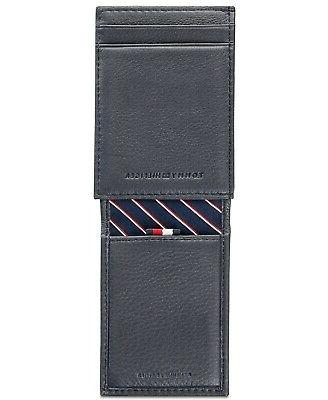 Tommy Men's Leather Wide Magnetic Pocket Credit Card