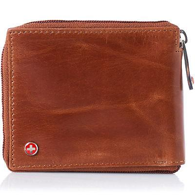 Alpine Swiss Mens Leather Zip Around ID Card Bifold
