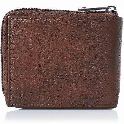 Alpine Mens Leather Zip Wallet Bifold
