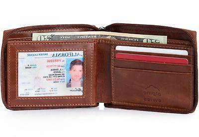 Alpine Mens Zip Wallet Card Secure Zipper Bifold