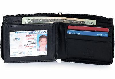 Alpine Swiss Mens Leather Zip Around ID Card Secure Bifold