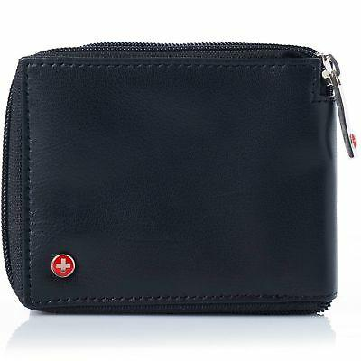 men s leather zip around wallet id