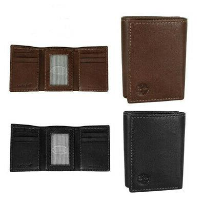 men s natural grain leather trifold wallet