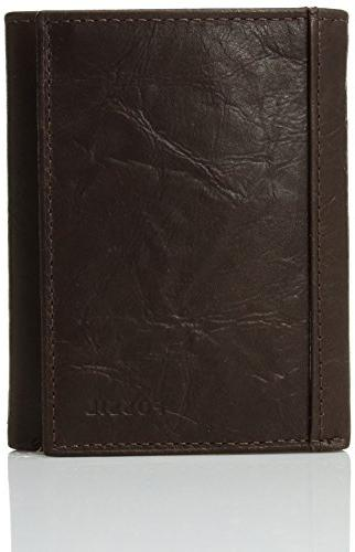 men s neel leather trifold wallet brown