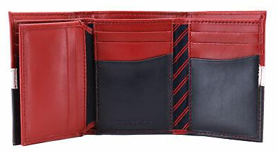 Tommy Hilfiger Men's Leather Trifold Red Navy 31TL110022