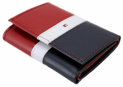 Tommy Hilfiger Premium Leather Trifold Wallet Red Navy 31TL110022