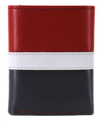 Tommy Hilfiger Men's Leather Trifold Red