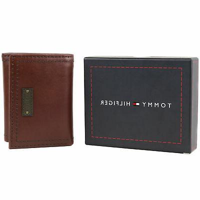 Tommy Hilfiger Men's Leather Trifold Coin ID Credit