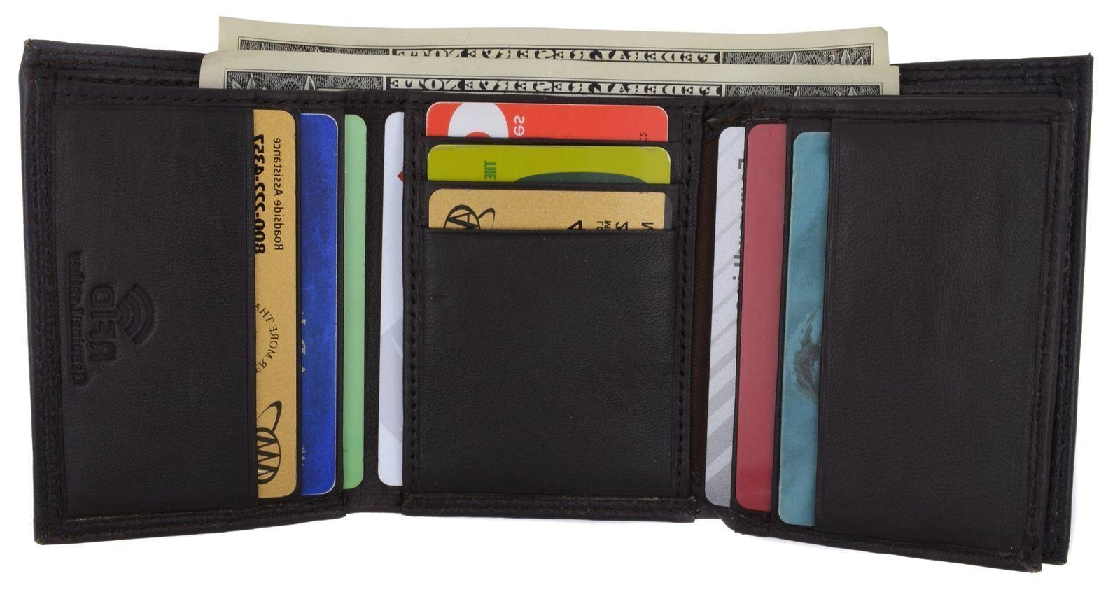 Swiss Marshall Men/'s RFID Blocking Premium Leather Classic Trifold Wallet