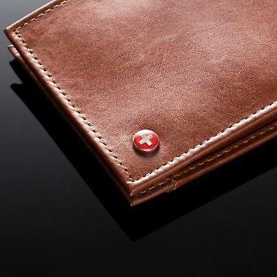Alpine Mens Thin Bifold Top Leather EZ Card