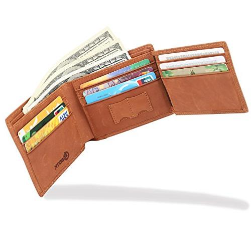 Men's Wallet - Blocking Cowhide Leather Vintage Trifold