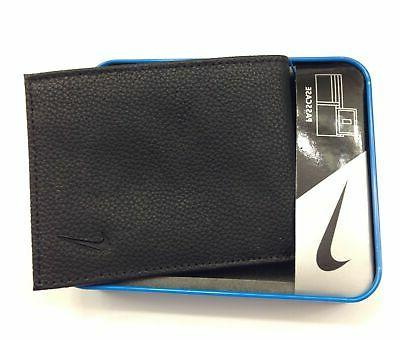 NIKE MENS ID BIFOLD PASSCASE PREMIUM PEBBLE LEATHER WALLET