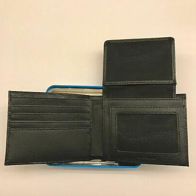NIKE MENS BLACK ID PASSCASE PEBBLE GRAIN LEATHER WALLET NIB