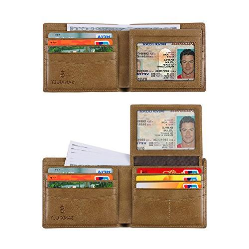 mens genuine leather bifold wallet extra capacity