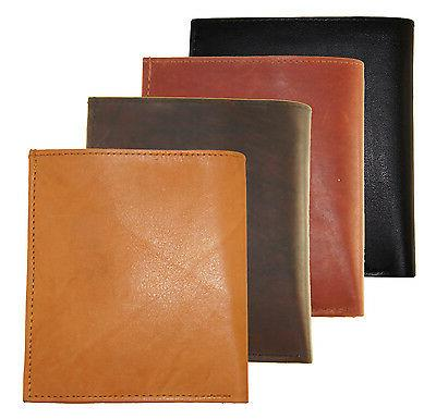 Mens Genuine Leather Wallet Slim Hipster Credit Card and ID Tan