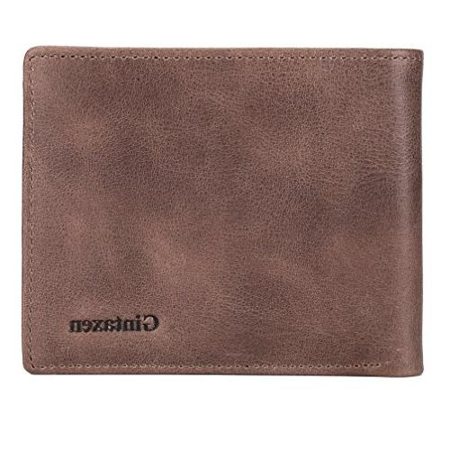Mens Genuine Leather Wallet with Window and RFID - Coffee