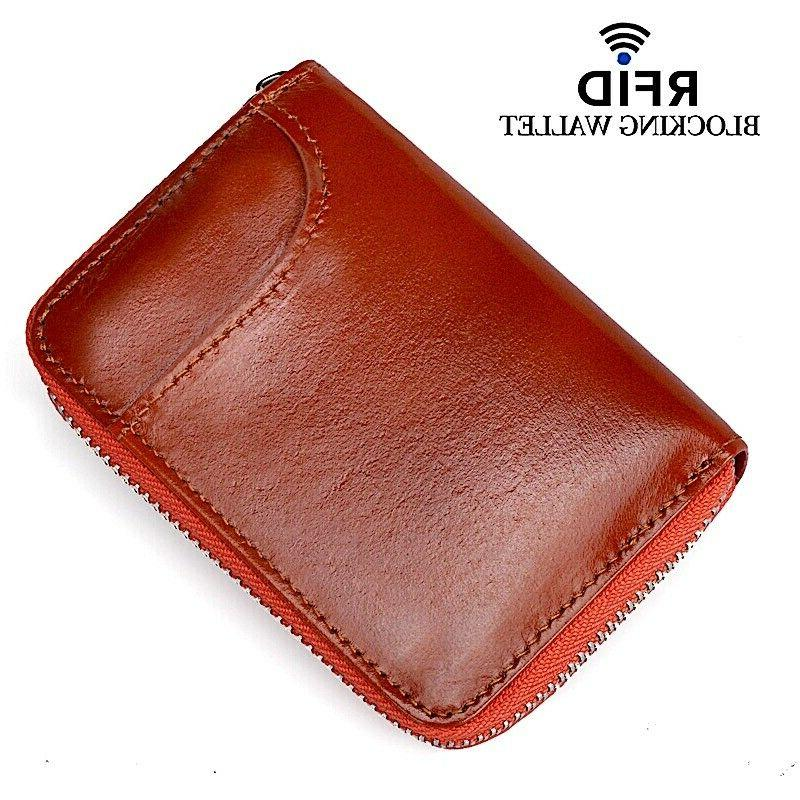 Mens Leather Zipper Wallet Blocking Card Thin