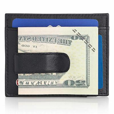 mens leather rfid spring money clip front