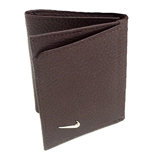 mens leather trifold wallet one size brown
