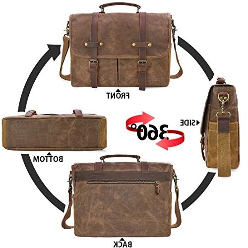 Mens Inch Leather Large Rugged Bag, Brown
