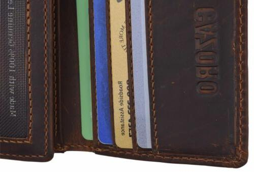 Cazoro RFID Hunter Leather ID Trifold