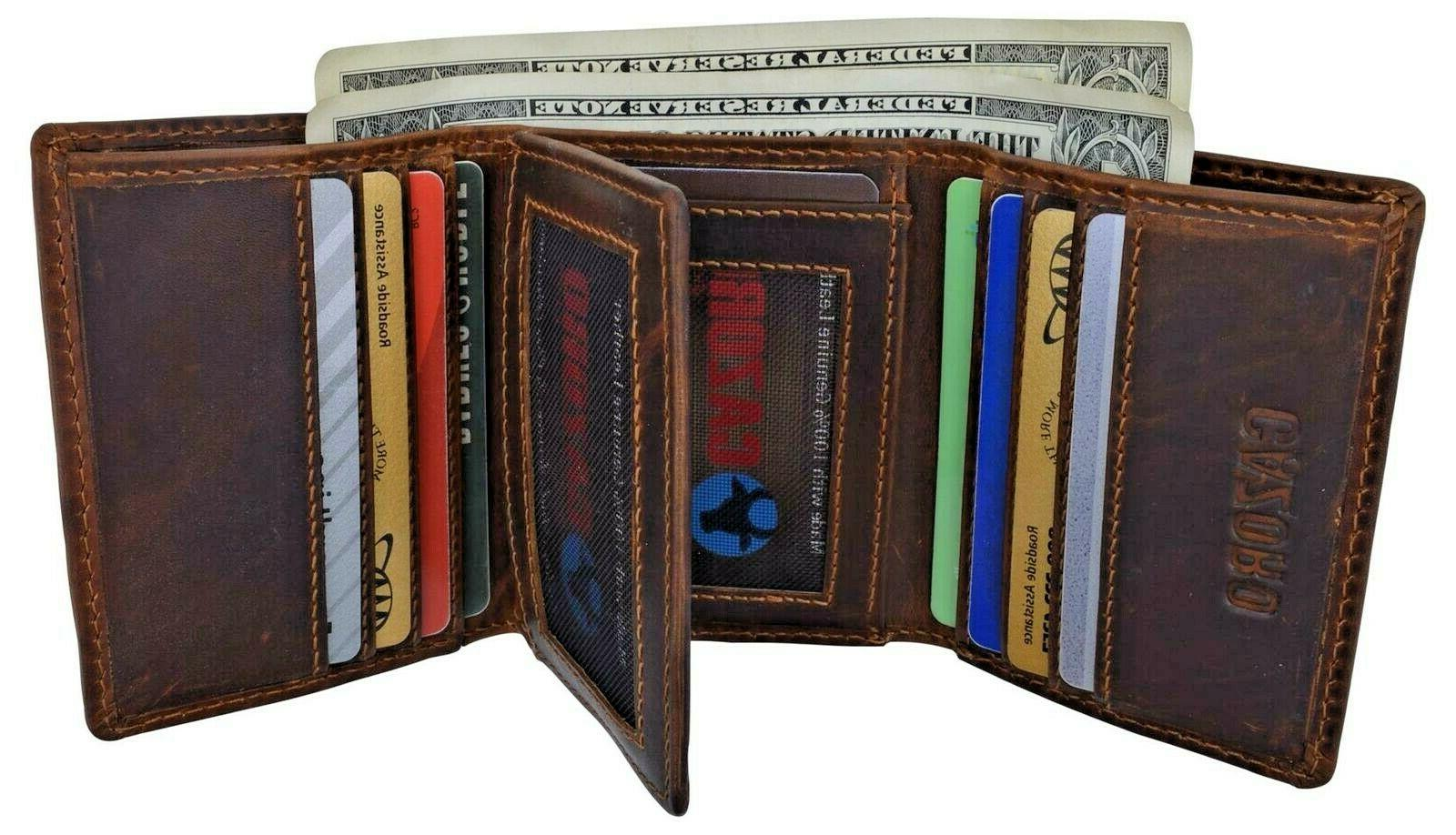 mens rfid blocking hunter leather credit card
