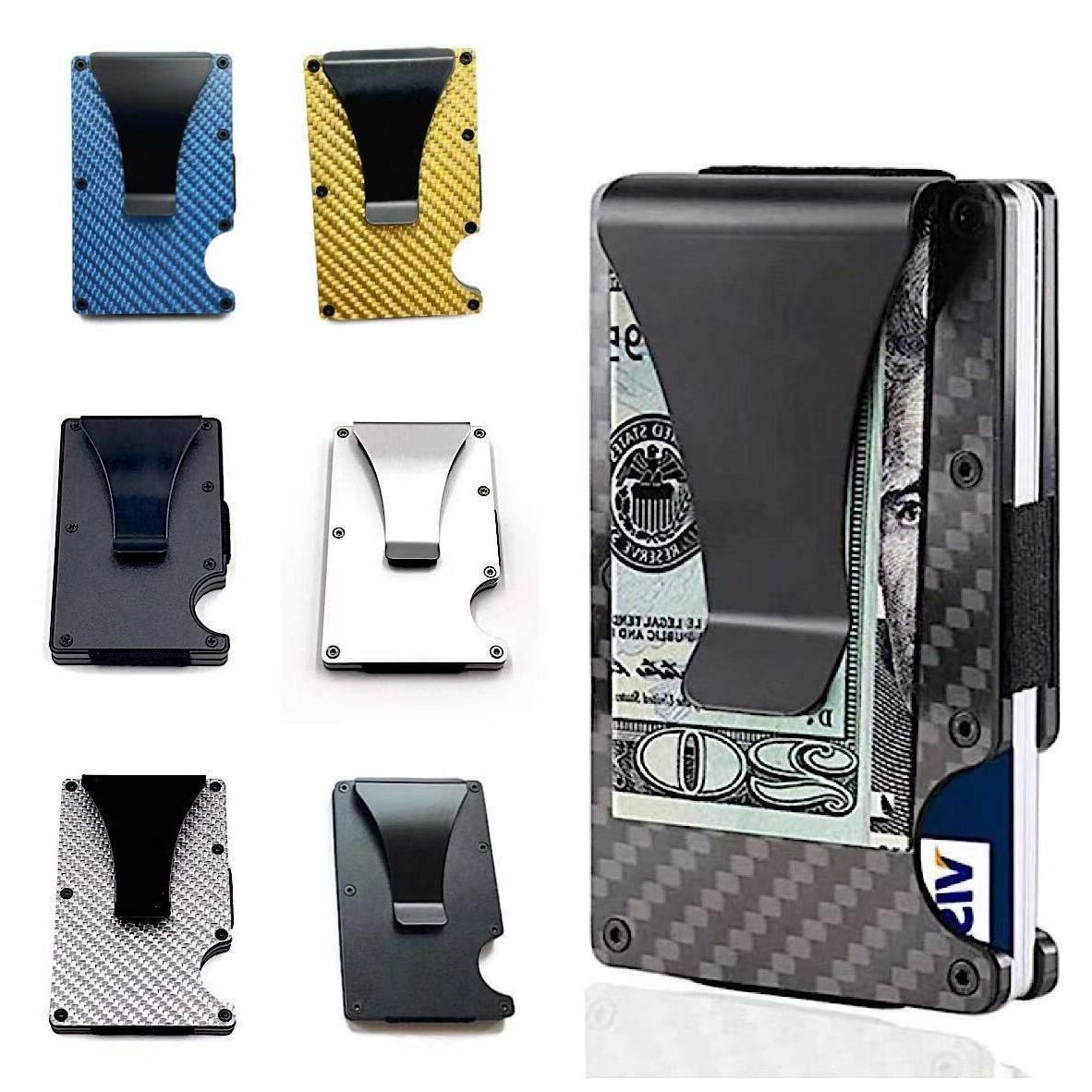mens rfid blocking slim money clip carbon