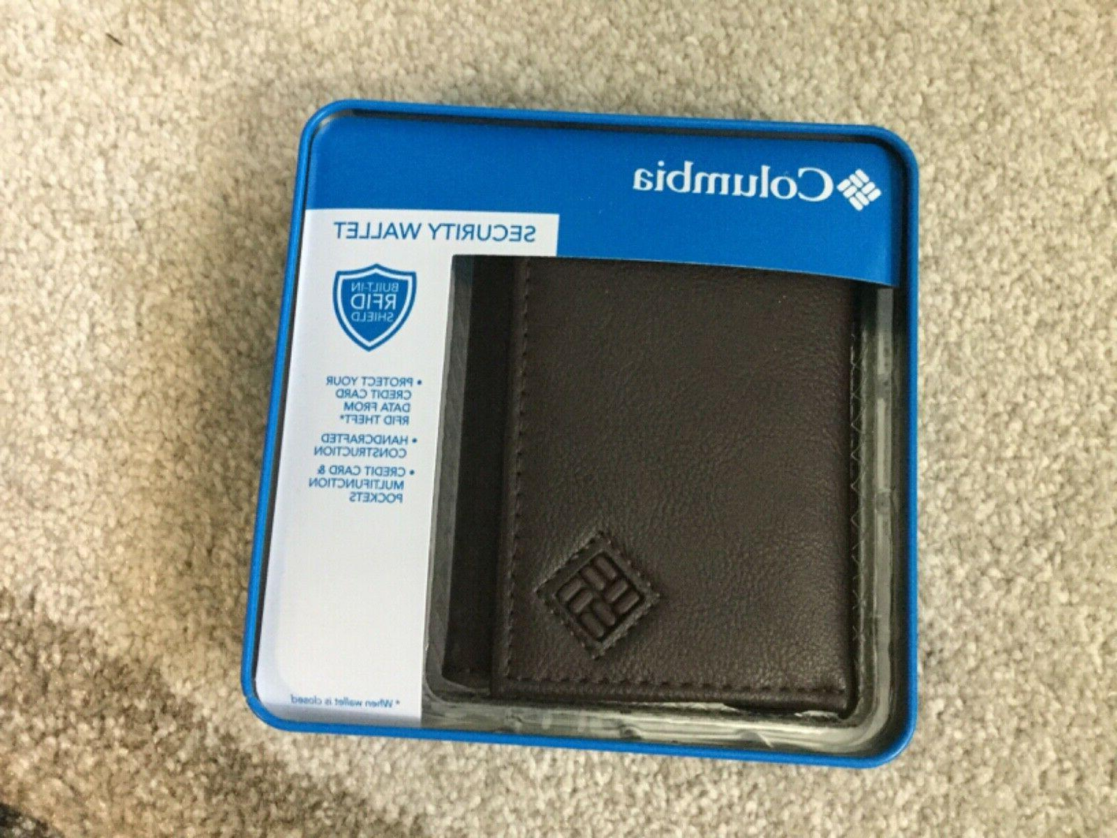 mens rfid shield security trifold leather wallet