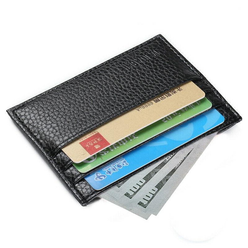 mens slim leather wallet card holder front