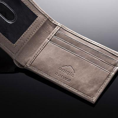 Alpine Swiss Mens Bifold Wallet Leather EZ Access Card Slot