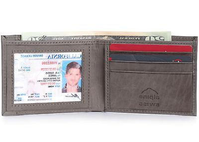 Alpine Mens Bifold Wallet Leather Access Card Slot
