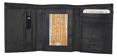 mens trifold leather wallet credit card holder