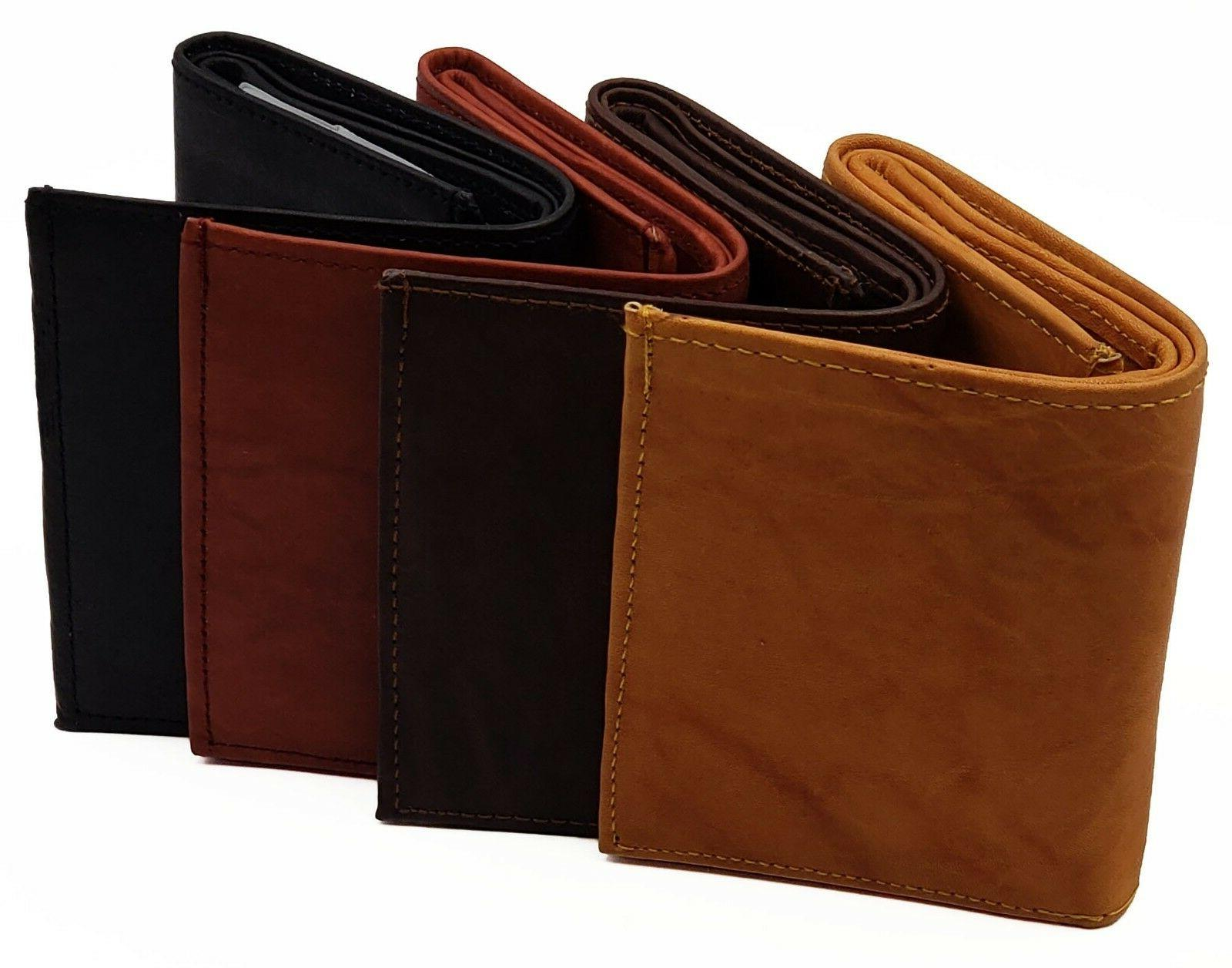 mens trifold rfid wallet cowhide leather removable