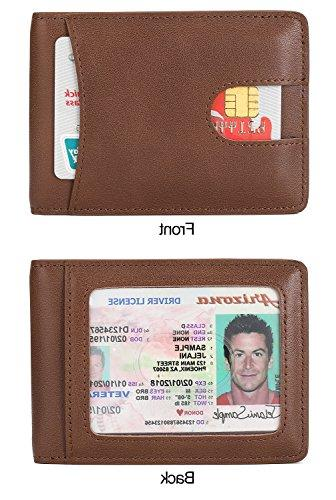 Mens Leather for with ID Window Magnetic Money Clip