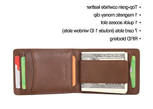 Mens Wallet Leather for Billfold ID Window Magnetic Clip Quick and Blocking Brown