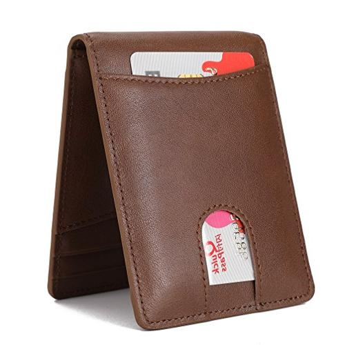 Mens Genuine Leather Pocket for Billfold with ID Clip Quick and RFID -