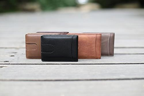 Mens Slim Genuine Leather Front Pocket for Men ID Money Clip Quick and Blocking Brown