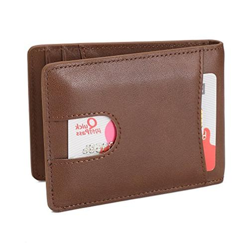 Mens Wallet Genuine Leather Pocket for ID Clip Slot and Blocking - Brown