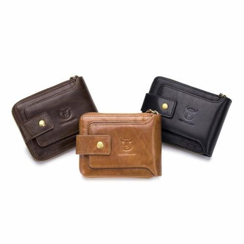 Mens Womens Genuine Leather Wallet Bifold Credit Card