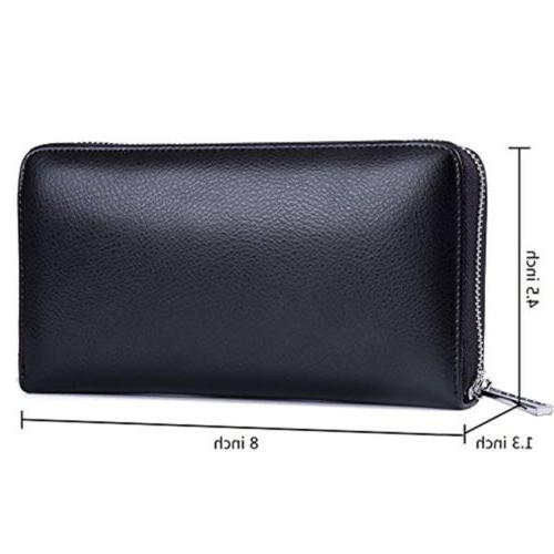 Mens/Womens Leather Large Capacity Credit ID Card RFID Blocking