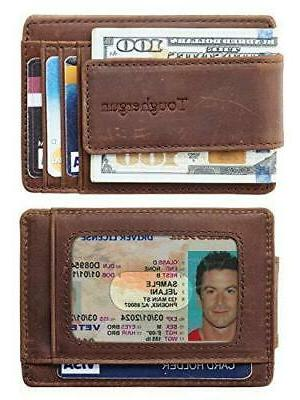 NapaWalli Genuine Leather Magnetic Front Clip Wallet