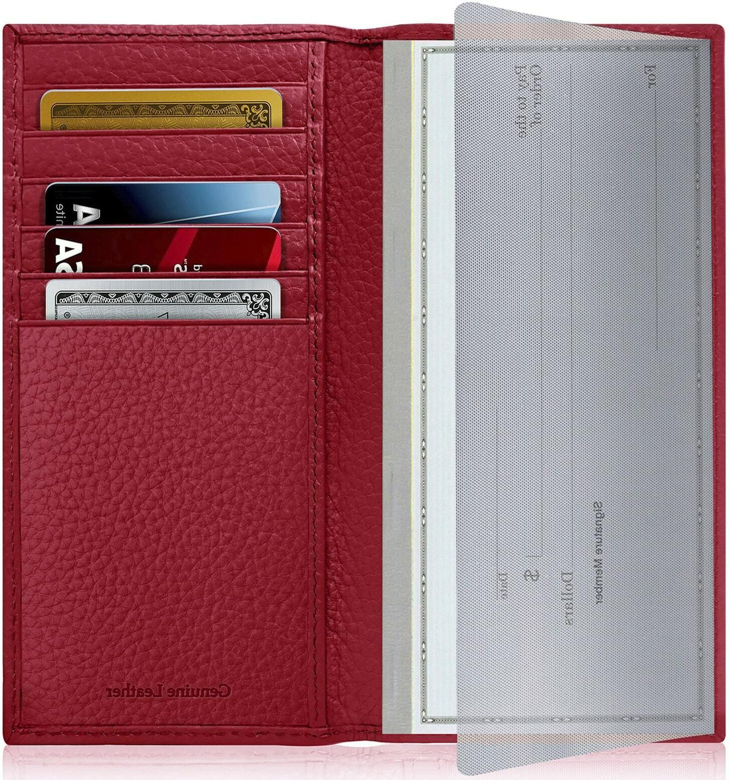 new genuine leather checkbook cover card holder