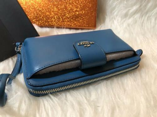 New Phone Wristlet Peacock BLUE smooth Leather F53675