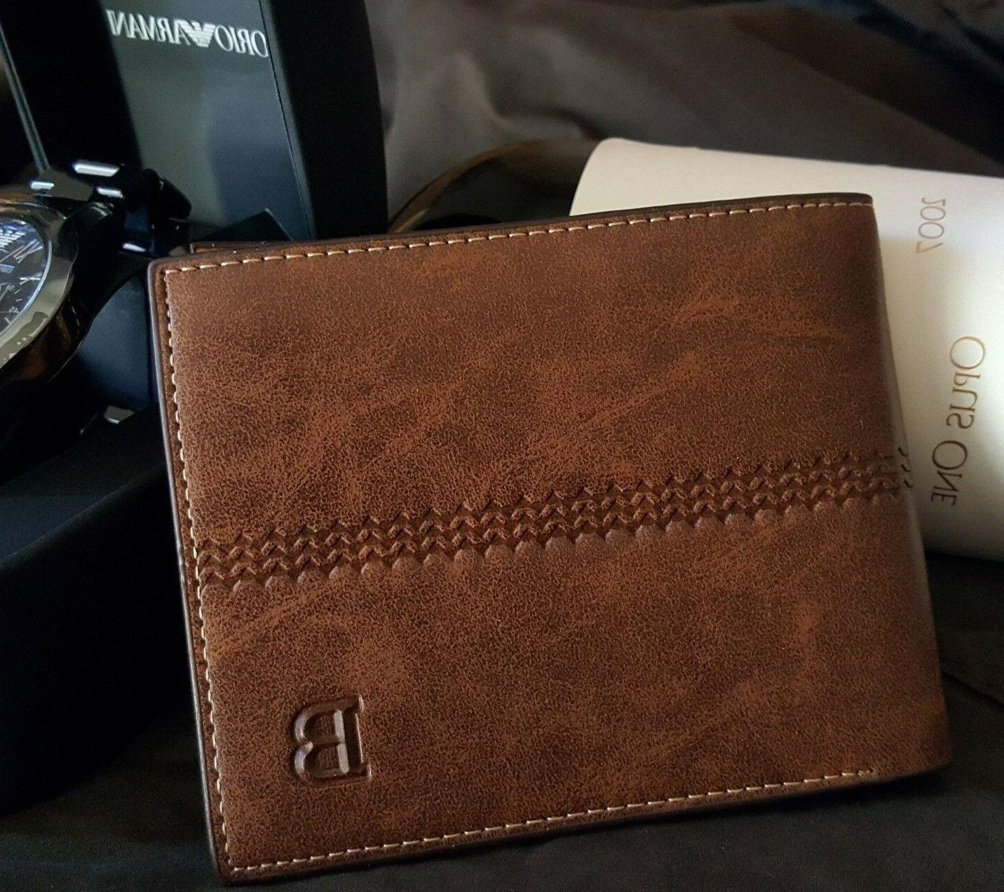 new men s leather bifold id card