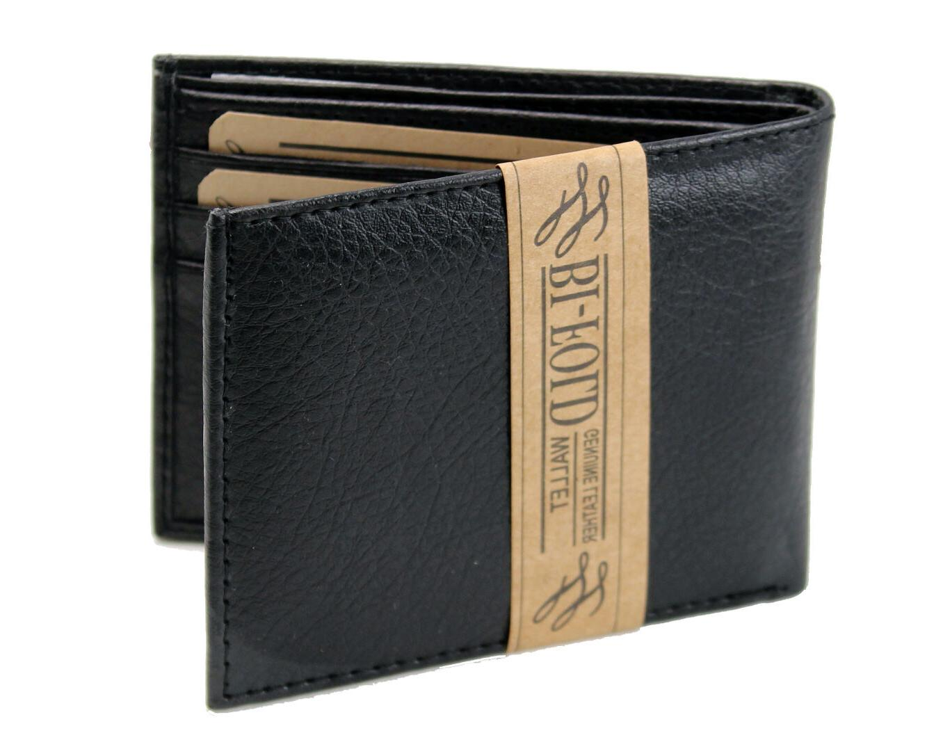 New Mens Bifold Grain Id License Thin Slim Soft